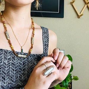 ⌈Vintage⌋ Beaded Agate Cloisonné Necklace